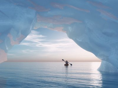 Kayaking through ice formation