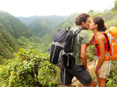 Couple exploring the rain forest